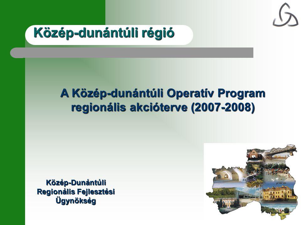 Közép-dunántúli régió A Közép-dunántúli Operatív Program regionális akcióterve (2007-2008) Közép-Dunántúli Regionális Fejlesztési Ügynökség