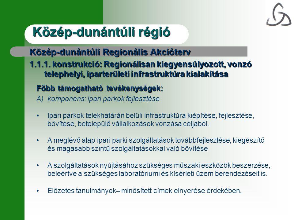 Közép-dunántúli régió Közép-dunántúli Regionális Akcióterv 1.1.1.