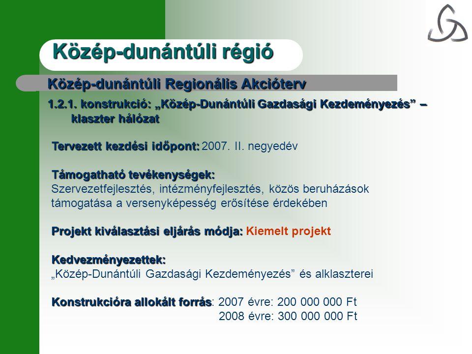 Közép-dunántúli régió Közép-dunántúli Regionális Akcióterv 1.2.1.