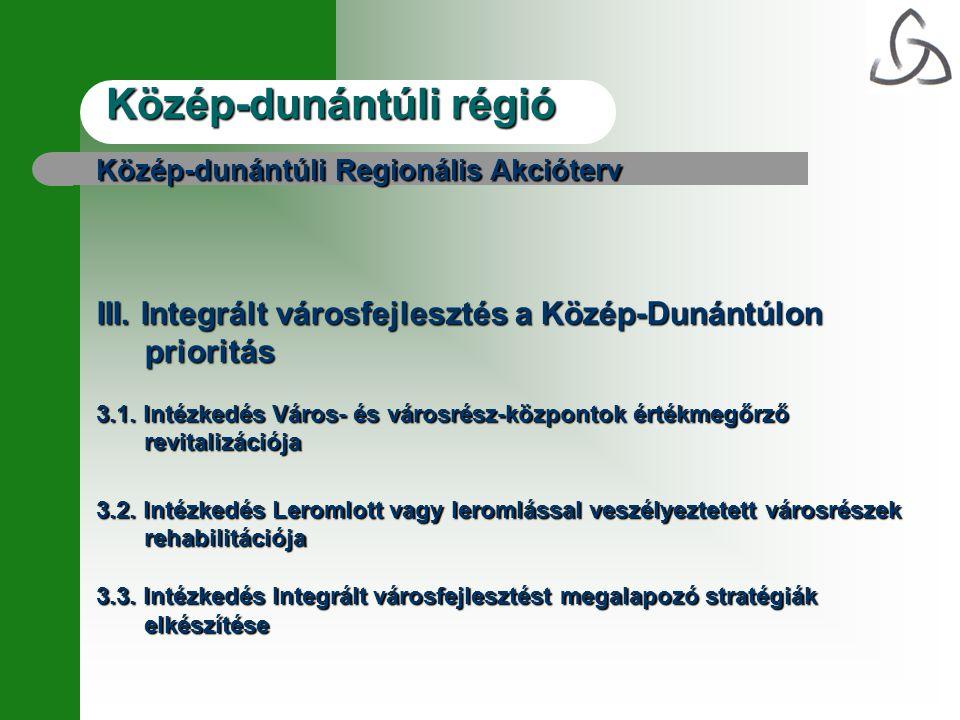 Közép-dunántúli régió Közép-dunántúli Regionális Akcióterv III.