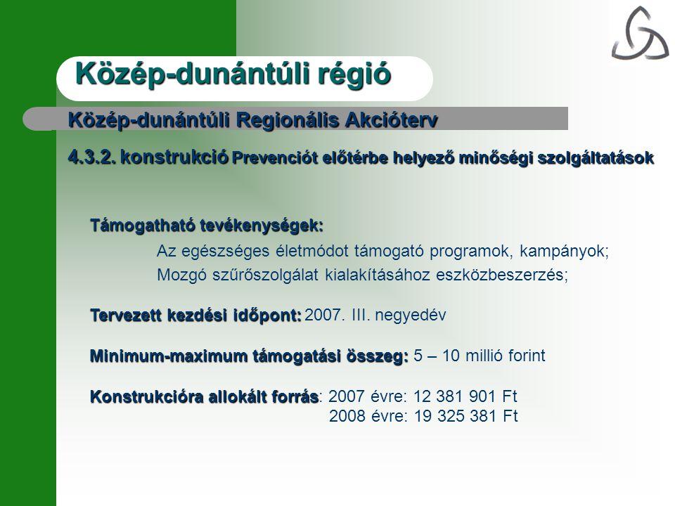 Közép-dunántúli régió Közép-dunántúli Regionális Akcióterv 4.3.2.