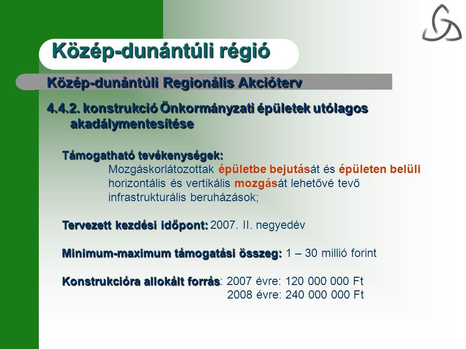 Közép-dunántúli régió Közép-dunántúli Regionális Akcióterv 4.4.2.