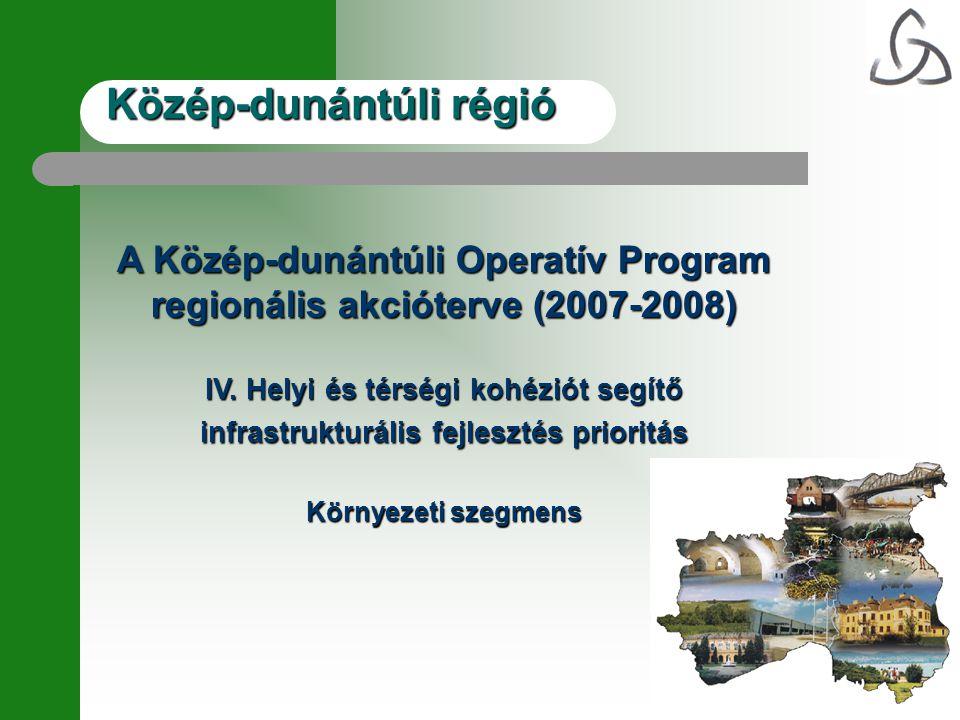 Közép-dunántúli régió A Közép-dunántúli Operatív Program regionális akcióterve (2007-2008) IV.