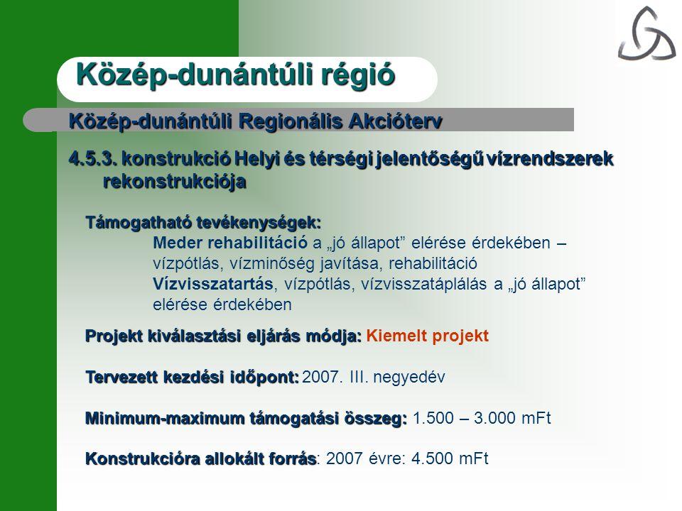 Közép-dunántúli régió Közép-dunántúli Regionális Akcióterv 4.5.3.