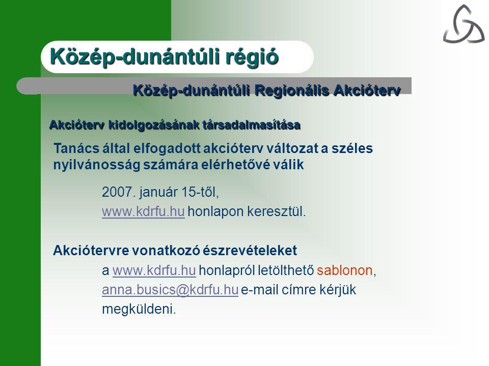 Közép-dunántúli Regionális Akcióterv Akcióterv kidolgozásának társadalmasítása Tanács által elfogadott akcióterv változat a széles nyilvánosság számára elérhetővé válik 2007.