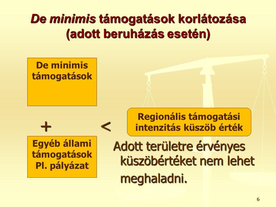 De minimis támogatások a mezőgazdaságban 7 A mezőgazdasági termékek elsődleges termelésével foglalkozó társaságok vehetik igénybe.