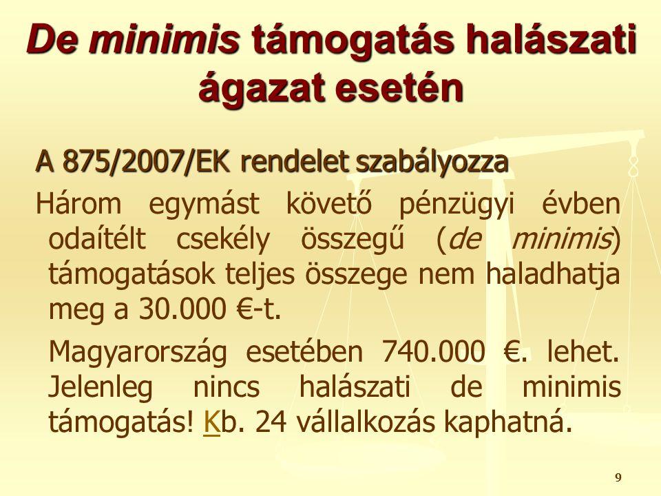 20 De minimis támogatás tartalom kamatkedvezmény esetén: Évente a kamat támogatás : 100.000.000 Ft x 3,03% = 3.030.000 Ft Ha a hitel futamideje 10 év: támogatás tartalom 1.