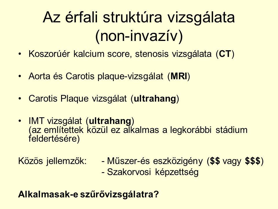 Az érfali struktúra vizsgálata (non-invazív) •Koszorúér kalcium score, stenosis vizsgálata (CT) •Aorta és Carotis plaque-vizsgálat (MRI) •Carotis Plaq