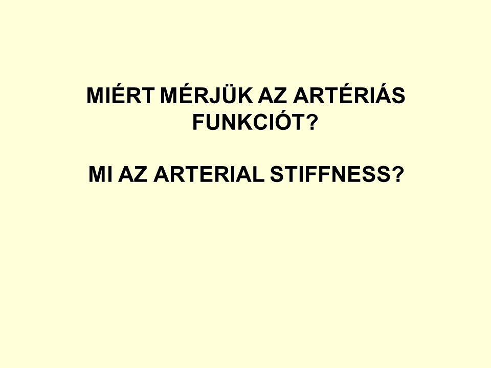 """A """"Stiffness egy elasztikus test ellenállása külső behatásra (nyújtás, hajlítás) Arterial Stiffness = az artériák rigiditása (merevsége), rugalmasságuk csökkenése Artériás funkció = az artériák compliance- jének, az érfal (endothel) működésének megtartása"""