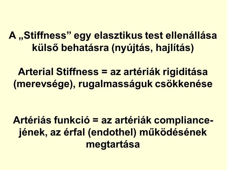 """A """"Stiffness"""" egy elasztikus test ellenállása külső behatásra (nyújtás, hajlítás) Arterial Stiffness = az artériák rigiditása (merevsége), rugalmasság"""