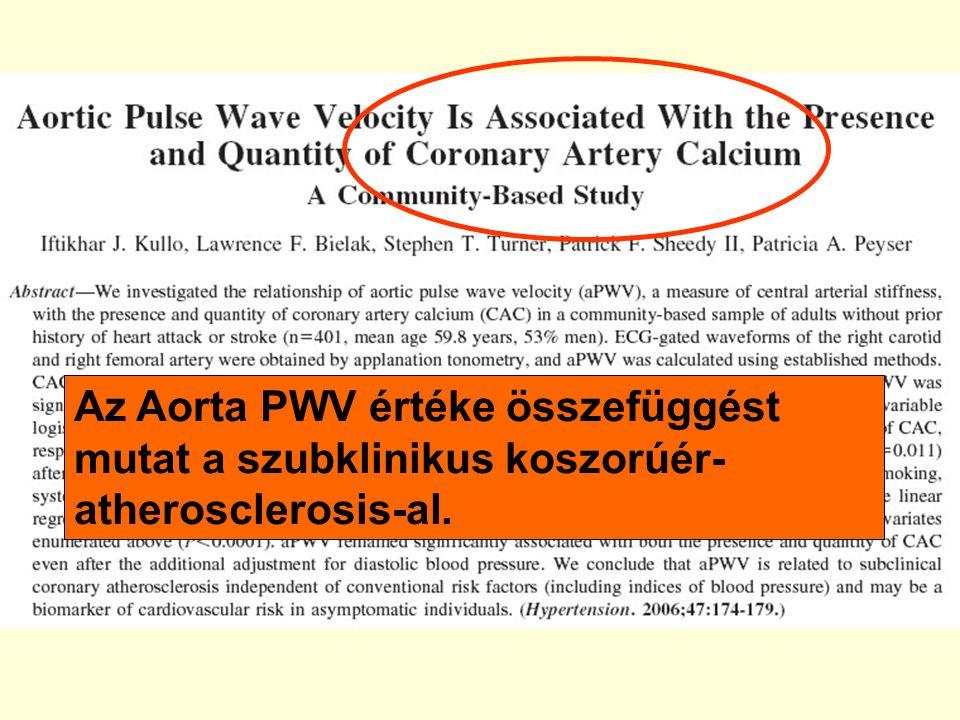 Az Aorta PWV értéke összefüggést mutat a szubklinikus koszorúér- atherosclerosis-al.