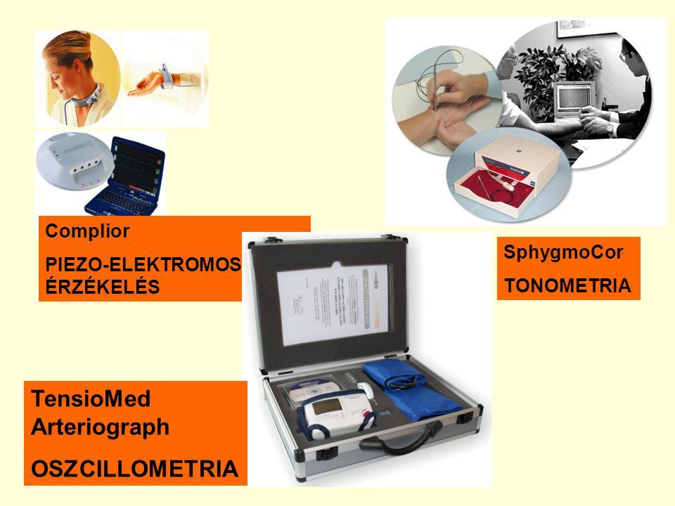 Complior PIEZO-ELEKTROMOS ÉRZÉKELÉS SphygmoCor TONOMETRIA TensioMed Arteriograph OSZCILLOMETRIA