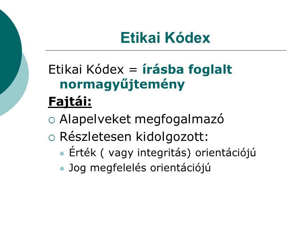 Etikai Kódex Etikai Kódex = írásba foglalt normagyűjtemény Fajtái:  Alapelveket megfogalmazó  Részletesen kidolgozott:  Érték ( vagy integritás) orientációjú  Jog megfelelés orientációjú