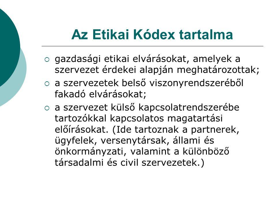 Az Etikai Kódex tartalma  gazdasági etikai elvárásokat, amelyek a szervezet érdekei alapján meghatározottak;  a szervezetek belső viszonyrendszerébő