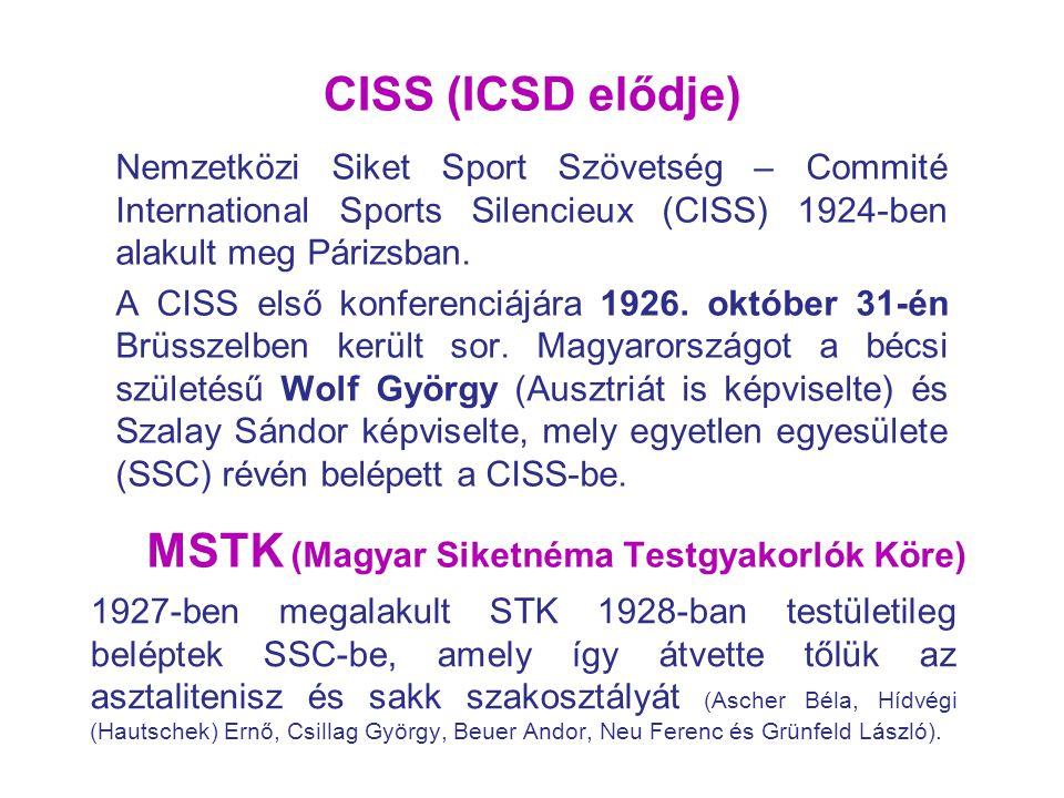 CISS (ICSD elődje) Nemzetközi Siket Sport Szövetség – Commité International Sports Silencieux (CISS) 1924-ben alakult meg Párizsban. A CISS első konfe