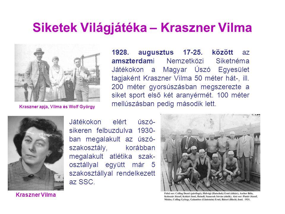 Siketek Világjátéka – Kraszner Vilma 1928. augusztus 17-25. között az amszterdami Nemzetközi Siketnéma Játékokon a Magyar Úszó Egyesület tagjaként Kra