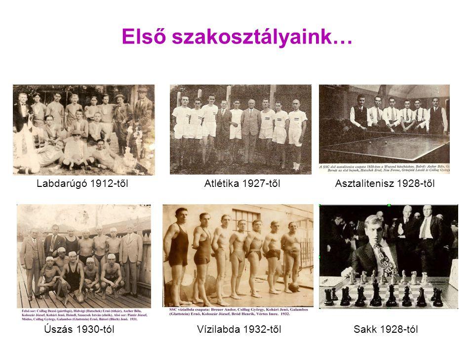 Labdarúgó 1912-tőlAtlétika 1927-tőlAsztalitenisz 1928-től Vízilabda 1932-tőlÚszás 1930-tól Első szakosztályaink… Sakk 1928-tól