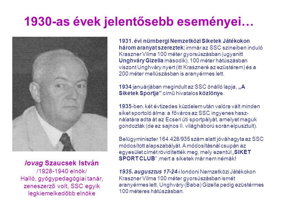 1930-as évek jelentősebb eseményei… lovag Szaucsek István /1928-1940 elnök/ Halló, gyógypedagógiai tanár, zeneszerző volt, SSC egyik legkiemelkedőbb elnöke 1931.
