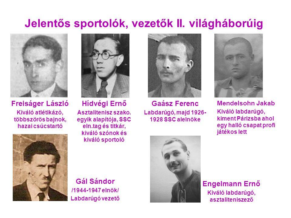 Jelentős sportolók, vezetők II.