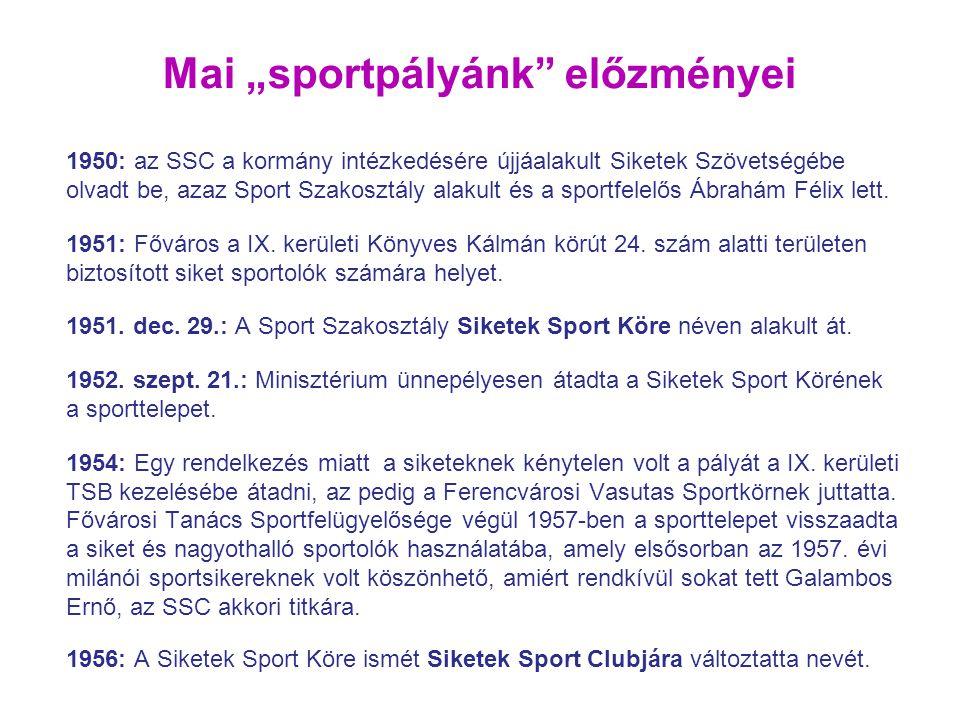 1950: az SSC a kormány intézkedésére újjáalakult Siketek Szövetségébe olvadt be, azaz Sport Szakosztály alakult és a sportfelelős Ábrahám Félix lett.