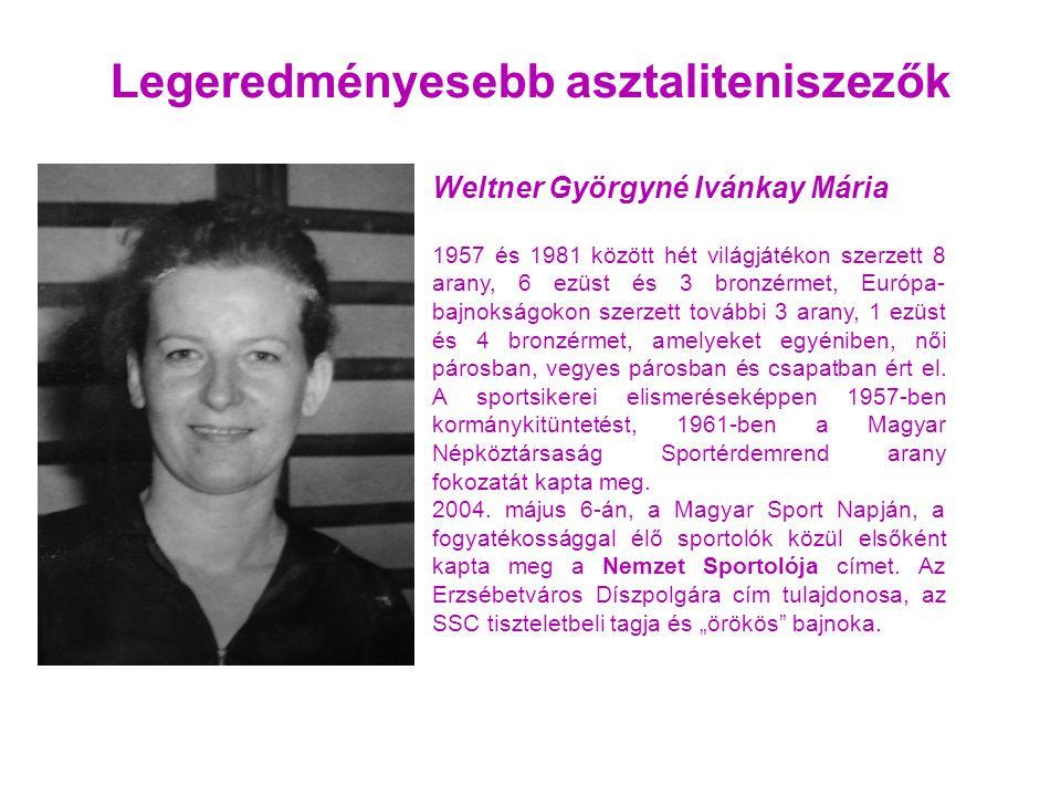Legeredményesebb asztaliteniszezők Weltner Györgyné Ivánkay Mária 1957 és 1981 között hét világjátékon szerzett 8 arany, 6 ezüst és 3 bronzérmet, Európa- bajnokságokon szerzett további 3 arany, 1 ezüst és 4 bronzérmet, amelyeket egyéniben, női párosban, vegyes párosban és csapatban ért el.