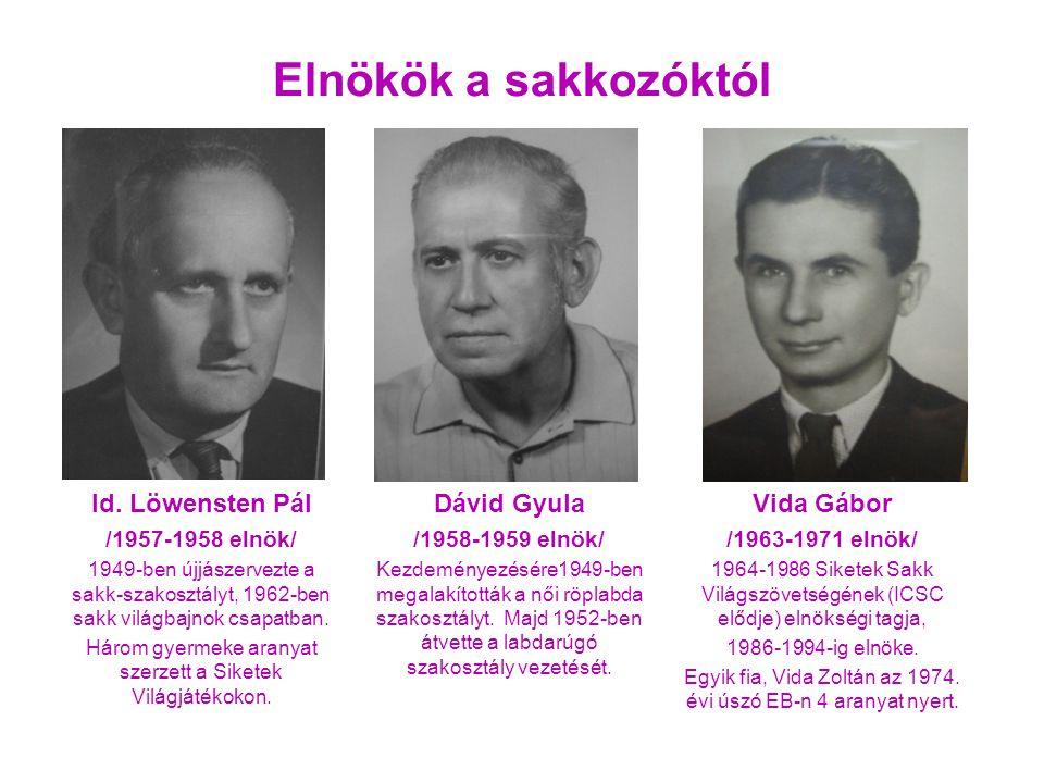 Id. Löwensten Pál /1957-1958 elnök/ 1949-ben újjászervezte a sakk-szakosztályt, 1962-ben sakk világbajnok csapatban. Három gyermeke aranyat szerzett a