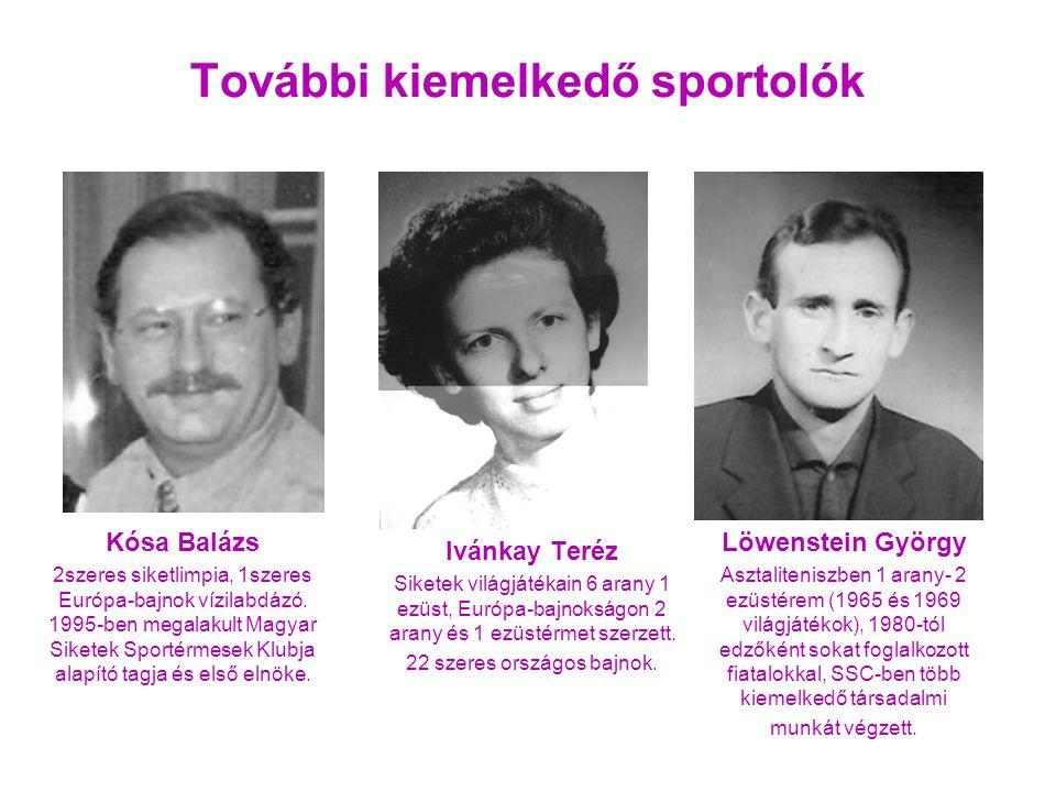 Löwenstein György Asztaliteniszben 1 arany- 2 ezüstérem (1965 és 1969 világjátékok), 1980-tól edzőként sokat foglalkozott fiatalokkal, SSC-ben több kiemelkedő társadalmi munkát végzett.