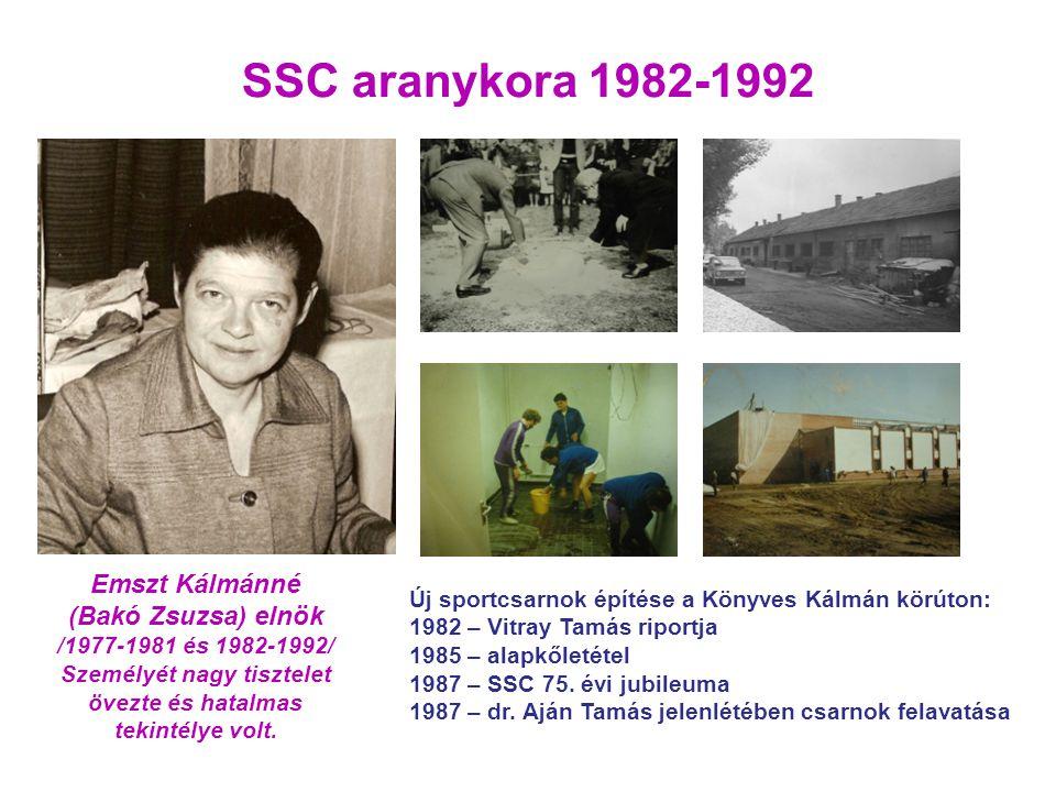 Új sportcsarnok építése a Könyves Kálmán körúton: 1982 – Vitray Tamás riportja 1985 – alapkőletétel 1987 – SSC 75. évi jubileuma 1987 – dr. Aján Tamás