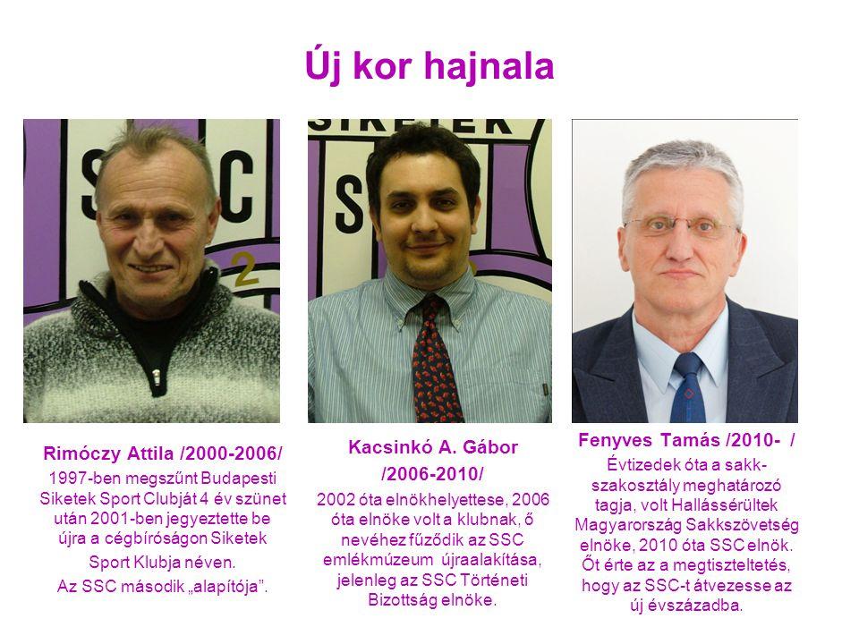Fenyves Tamás /2010- / Évtizedek óta a sakk- szakosztály meghatározó tagja, volt Hallássérültek Magyarország Sakkszövetség elnöke, 2010 óta SSC elnök.