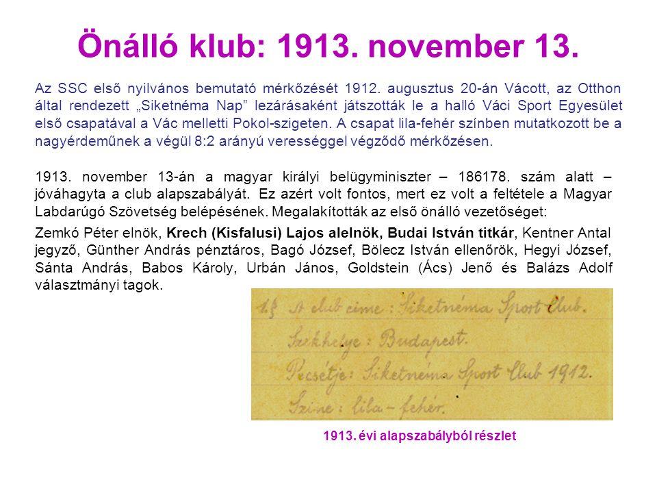 Önálló klub: 1913. november 13. 1913. november 13-án a magyar királyi belügyminiszter – 186178. szám alatt – jóváhagyta a club alapszabályát. Ez azért