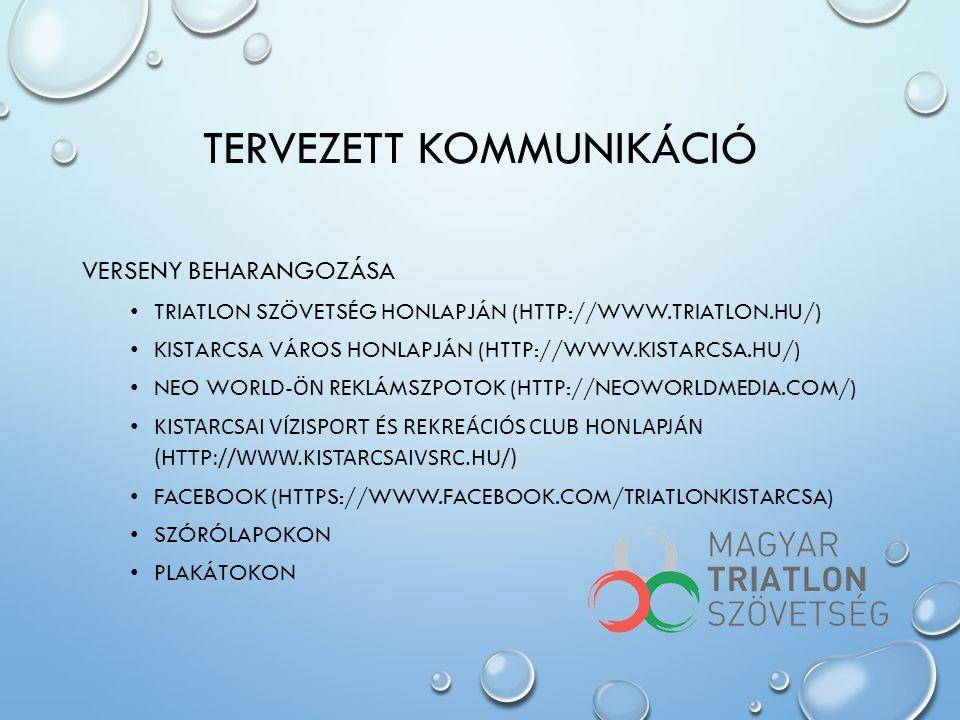 TERVEZETT KOMMUNIKÁCIÓ VERSENY BEHARANGOZÁSA • TRIATLON SZÖVETSÉG HONLAPJÁN (HTTP://WWW.TRIATLON.HU/) • KISTARCSA VÁROS HONLAPJÁN (HTTP://WWW.KISTARCS