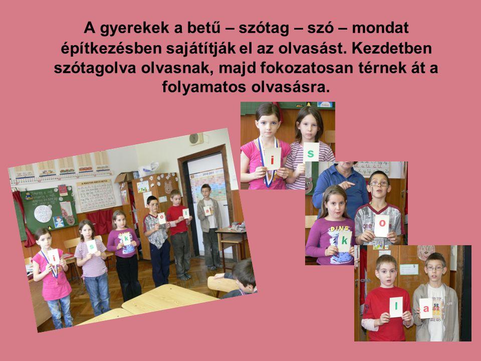 A gyerekek a betű – szótag – szó – mondat építkezésben sajátítják el az olvasást. Kezdetben szótagolva olvasnak, majd fokozatosan térnek át a folyamat