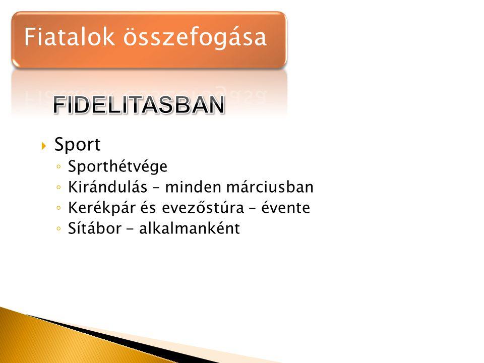  Sport ◦ Sporthétvége ◦ Kirándulás – minden márciusban ◦ Kerékpár és evezőstúra – évente ◦ Sítábor - alkalmanként