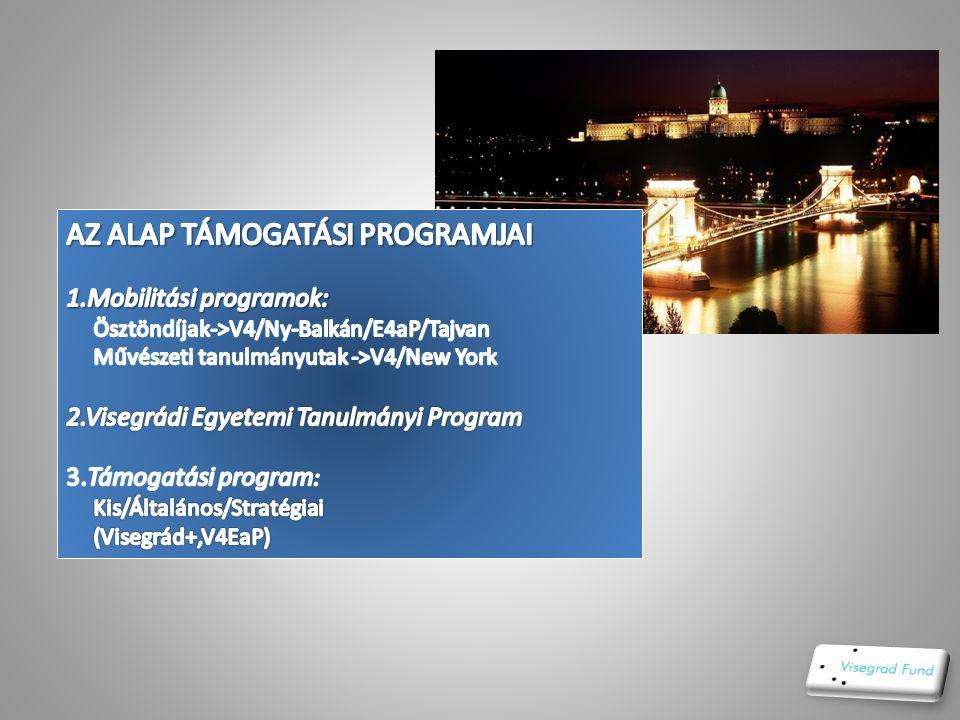 A Nemzetközi Visegrádi Alap o a Külügyminiszterek Konferenciája o Nagykövetek Tanácsa o Titkárság: Pozsony, Szlovákia o Munkanyelv: angol o Éves ktsgv:7.M€ (4x1.75M/€ország )=>kb.1,5M€/2012/HU o 2014-től: 8M€ o CÉL: V4-együttműködés egymással/együtt másokkal.