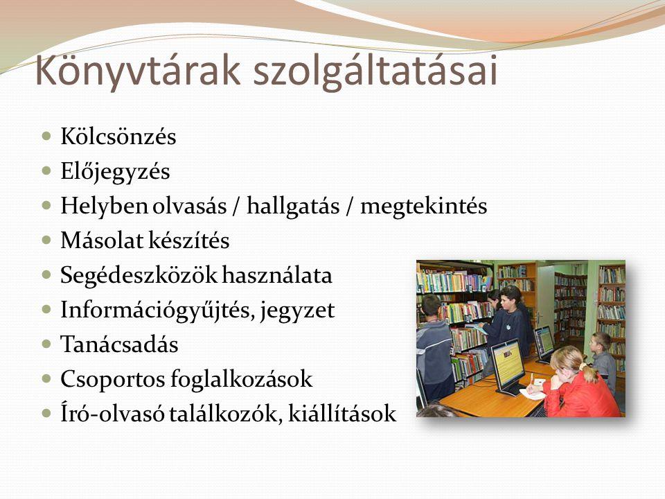Könyvtárak szolgáltatásai  Kölcsönzés  Előjegyzés  Helyben olvasás / hallgatás / megtekintés  Másolat készítés  Segédeszközök használata  Inform