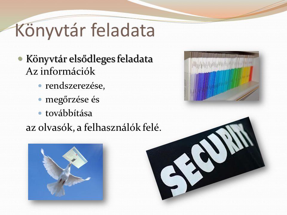 Könyvtár feladata  Könyvtár elsődleges feladata  Könyvtár elsődleges feladata Az információk  rendszerezése,  megőrzése és  továbbítása az olvasó