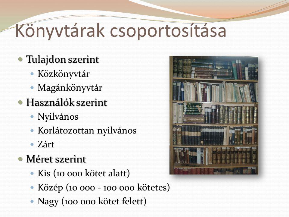 Könyvtárak csoportosítása  Tulajdon szerint  Közkönyvtár  Magánkönyvtár  Használók szerint  Nyilvános  Korlátozottan nyilvános  Zárt  Méret sz