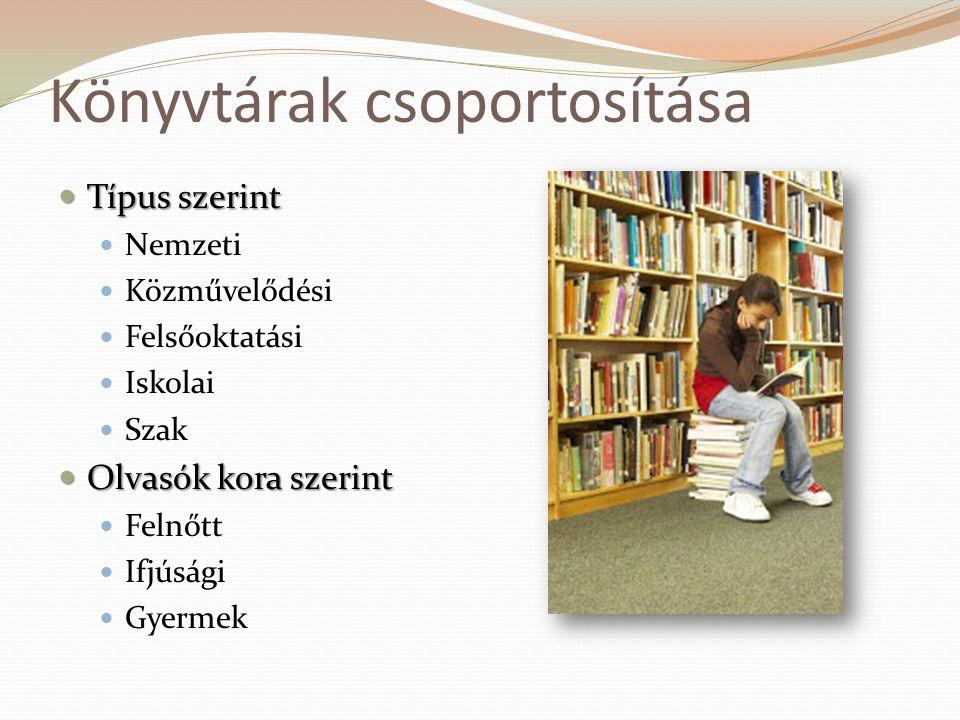 Könyvtárak csoportosítása  Típus szerint  Nemzeti  Közművelődési  Felsőoktatási  Iskolai  Szak  Olvasók kora szerint  Felnőtt  Ifjúsági  Gye