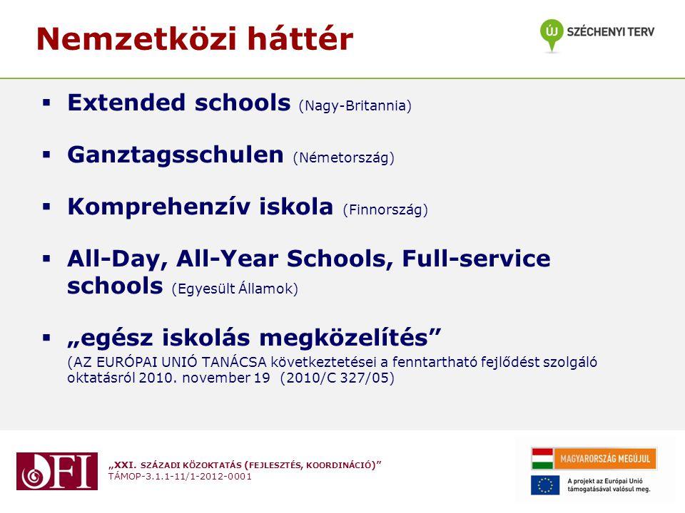 """""""XXI. SZÁZADI KÖZOKTATÁS ( FEJLESZTÉS, KOORDINÁCIÓ )"""" TÁMOP-3.1.1-11/1-2012-0001 Nemzetközi háttér  Extended schools (Nagy-Britannia)  Ganztagsschul"""