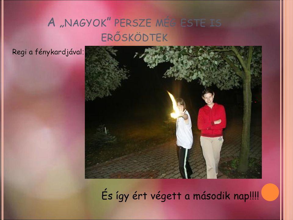 """A """" NAGYOK """" PERSZE MÉG ESTE IS ERŐSKÖDTEK És így ért végett a második nap!!!! Regi a fénykardjával :"""
