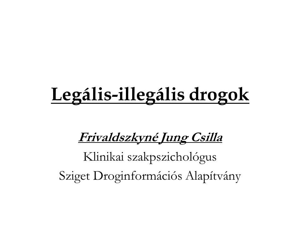 Legális-illegális drogok Frivaldszkyné Jung Csilla Klinikai szakpszichológus Sziget Droginformációs Alapítvány