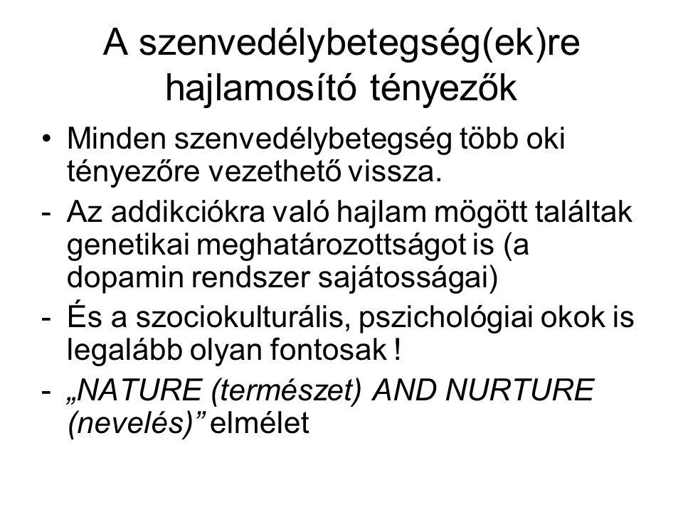 A szenvedélybetegség(ek)re hajlamosító tényezők •Minden szenvedélybetegség több oki tényezőre vezethető vissza. -Az addikciókra való hajlam mögött tal