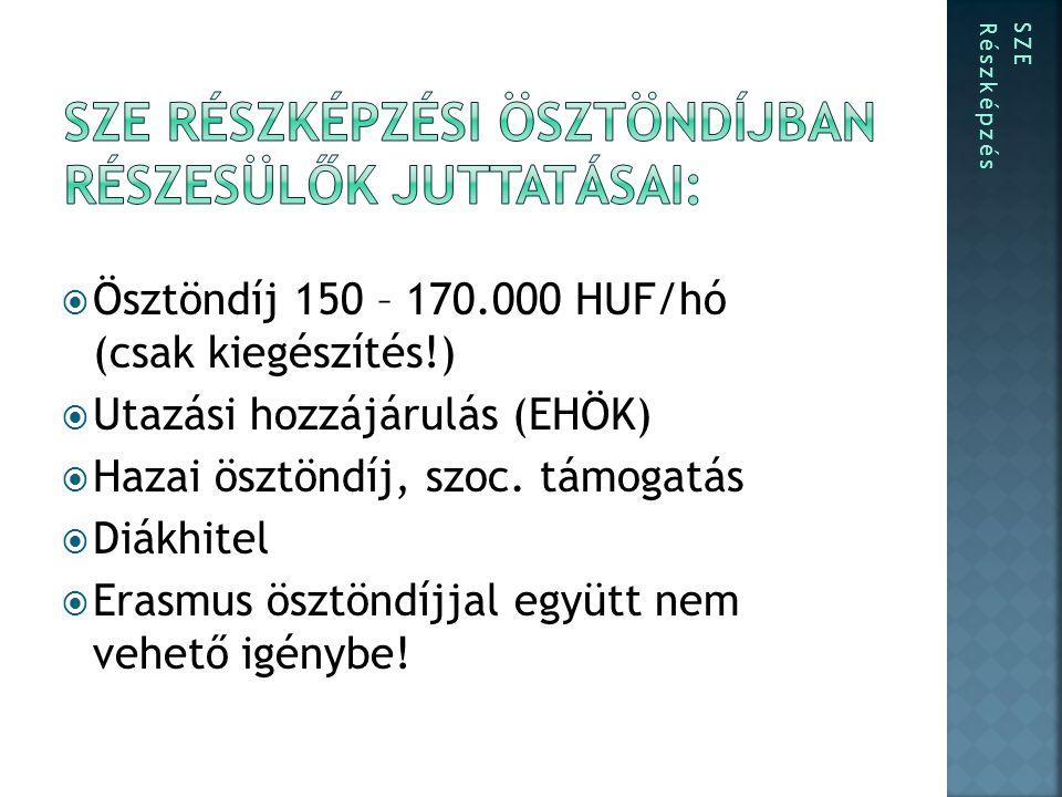  Ösztöndíj 150 – 170.000 HUF/hó (csak kiegészítés!)  Utazási hozzájárulás (EHÖK)  Hazai ösztöndíj, szoc.