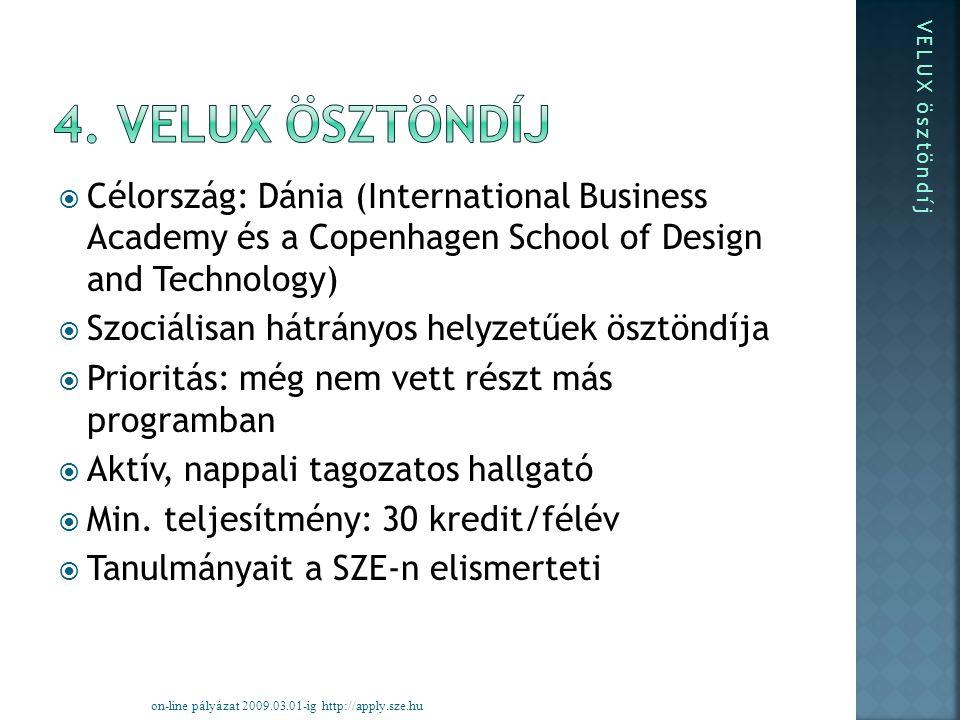  Célország: Dánia (International Business Academy és a Copenhagen School of Design and Technology)  Szociálisan hátrányos helyzetűek ösztöndíja  Prioritás: még nem vett részt más programban  Aktív, nappali tagozatos hallgató  Min.