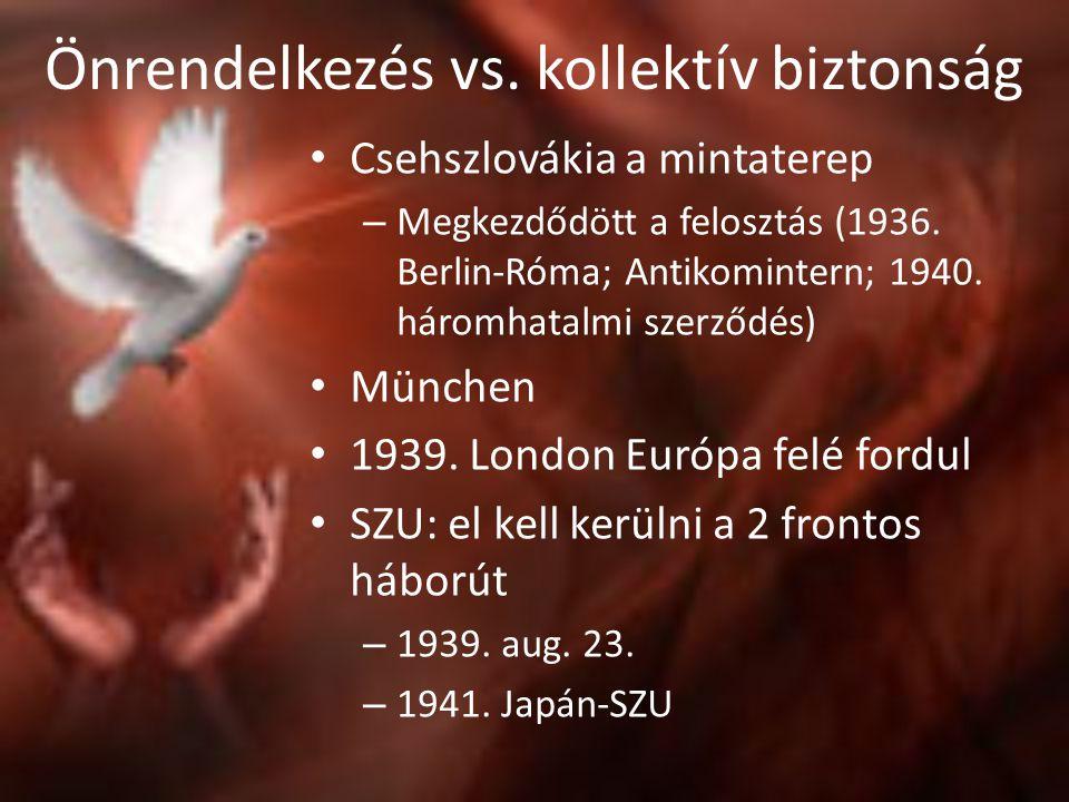 Önrendelkezés vs. kollektív biztonság • Csehszlovákia a mintaterep – Megkezdődött a felosztás (1936. Berlin-Róma; Antikomintern; 1940. háromhatalmi sz