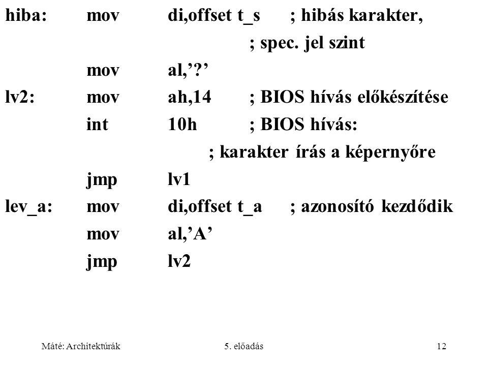 Máté: Architektúrák5. előadás12 hiba:movdi,offset t_s; hibás karakter, ; spec. jel szint moval,'?' lv2: movah,14; BIOS hívás előkészítése int10h; BIOS