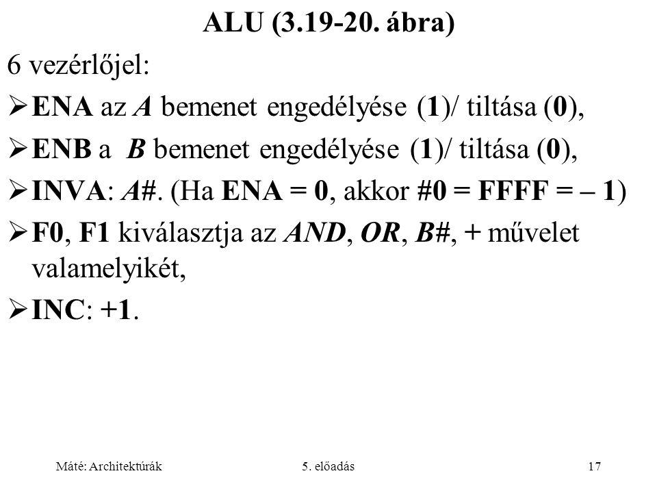 Máté: Architektúrák5. előadás17 ALU (3.19-20. ábra) 6 vezérlőjel:  ENA az A bemenet engedélyése (1)/ tiltása (0),  ENB a B bemenet engedélyése (1)/