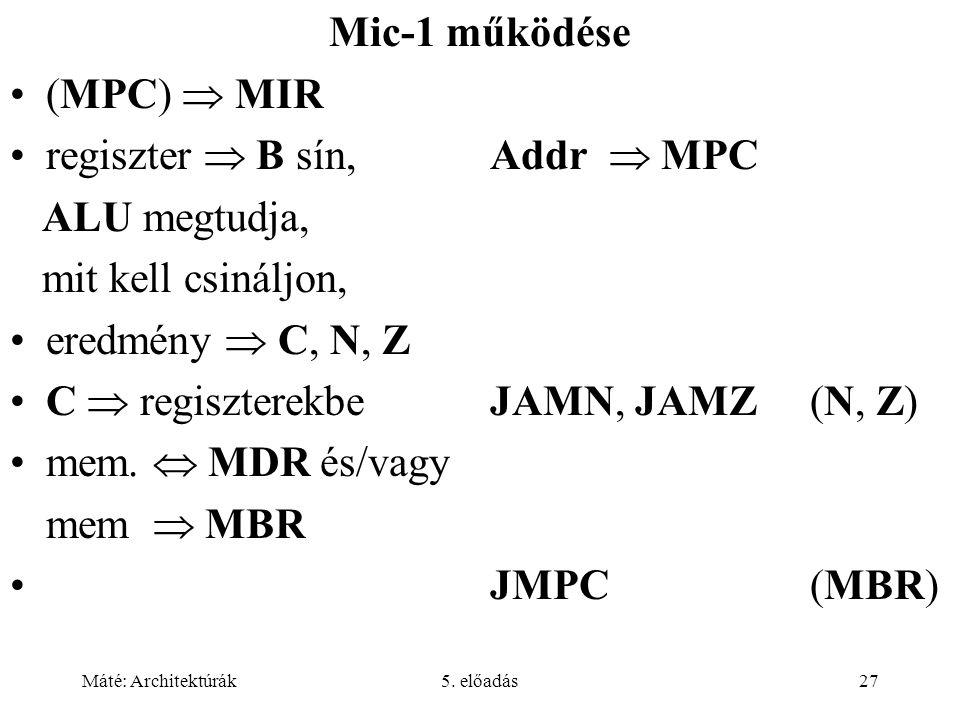 Máté: Architektúrák5. előadás27 Mic-1 működése •(MPC)  MIR •regiszter  B sín,Addr  MPC ALU megtudja, mit kell csináljon, •eredmény  C, N, Z •C  r