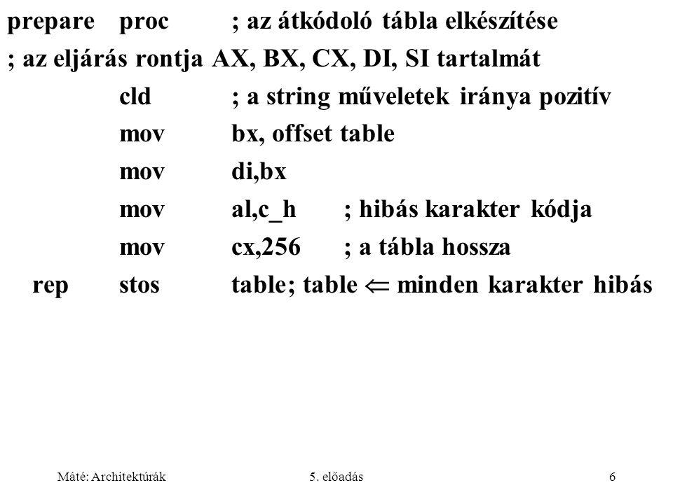 Máté: Architektúrák5. előadás6 prepareproc; az átkódoló tábla elkészítése ; az eljárás rontja AX, BX, CX, DI, SI tartalmát cld; a string műveletek irá