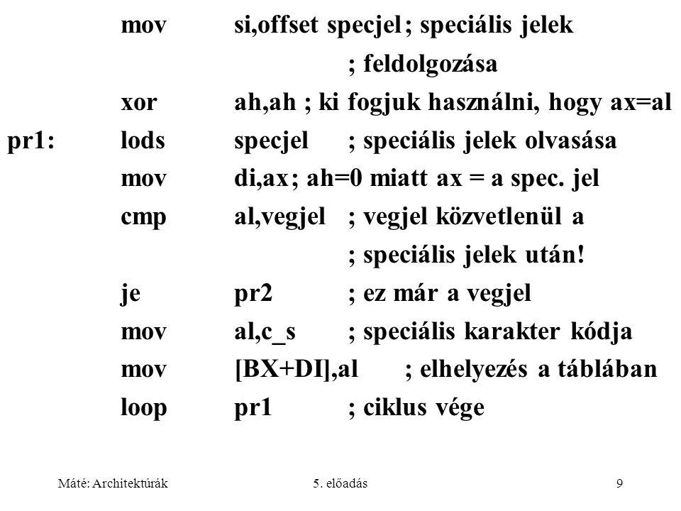 Máté: Architektúrák5. előadás9 movsi,offset specjel; speciális jelek ; feldolgozása xorah,ah ; ki fogjuk használni, hogy ax=al pr1:lodsspecjel; speciá
